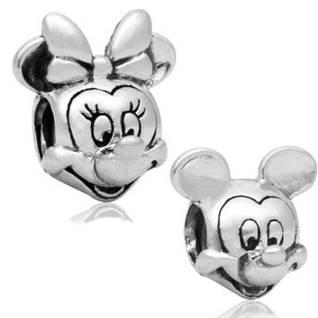 Free Shipping 2pc Large Hole Silver plated Beads Lovely Minnie Mouse Charms Fits European Pandora Charm Bracelet Jewelry gift