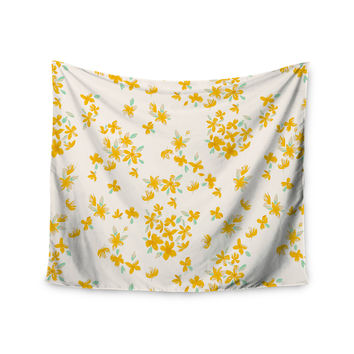 "Gukuuki ""Kashmir Garden"" Yellow White Wall Tapestry"