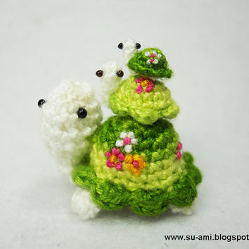 Flowery Turtle Family - Micro Amigurumi Crochet Tortoises - Set of 3 Green Turtles - Made To Order
