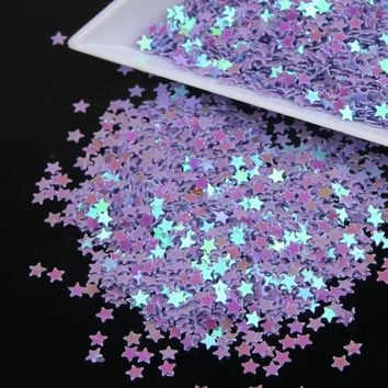 Stars Shape Holographic Purple Color Laser Nail Glitter Paillette Sequins Universe Beauty Decal Nail Tool Wholesale WY19