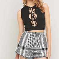 Out From Under Tie-Front Keyhole Black Tank Top - Urban Outfitters