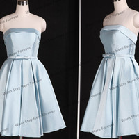 Sweetheart Satin Sheer Light Blue Bow Belt Strapless Short Evening Dress,prom dress for girl,evening gown,short graduation dress,short dress