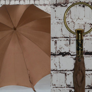70s Umbrella Sun Shade Decorative Handel Gold Metal Brown Earthy Hipster Mod Festival Rockabilly 60s Home Decor Mid Century
