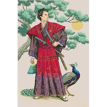Top Quality Lovely Counted Cross Stitch Kit The Mighty Samurai Asian Japanese Man and Peacock Bird dim 03881