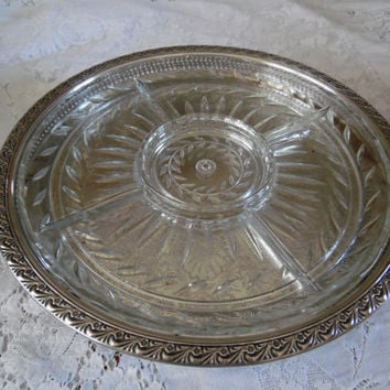 Vintage Wm. Rogers Lazy Susan Silver Plate with Glass Insert