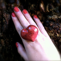 wooden heart  ring big wood jewelry adjustable echo friendly unique friendship jewelry