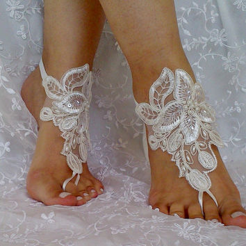 ivory beaded lace barefoot sandal  wedding shoe