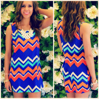 Grace Bay Blue Chevron Shift Dress