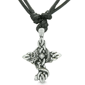 Amulet Celtic Protection Knots Cross and Courage Dragon Pewter Pendant Necklace