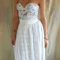 Meadow Bustier Wedding Gown... whimsical boho corset woodland fairy formal prom women dress shabby country chic free people eco friendly