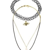 Gold Charm & Tattoo Choker Necklaces - 3 Pack by Charlotte Russe