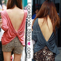 Lookbookstore Women Sexy Long Sleeved Ruched Wrap Draped V-back Backless T-Shirt T Shirt Top #lookbookstore @lookbookstore