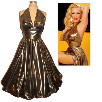 The 24 karat LIQUID GOLD Ultimate Bombshell Pin-Up Halter Dress... Ode to Marilyn
