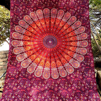 Hippie Cotton Printed Fabric Mandala Wall Hanging Bedspread Twin Tapestry Ethnic Home Decor - FabricSarmaya