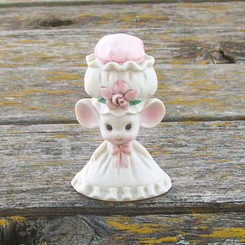 Vintage Lefton China Mouse Pin Cushion Hand Painted
