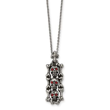 Stainless Steel Antiqued and Polished with Red Crystal Skull Necklace 22in