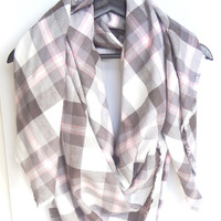 Plaid Blanket Scarf, Blanket Scarf, Gift For Her, Pink Blanket Scarf, Winter Scarf, Cotton Scarf