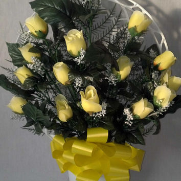 Hoop Basket Arrangement with Yellow Rosebuds