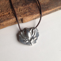Lotus Blossom Necklace, Lotus Flower, Pendant Necklace, Pewter Necklace, Leather Necklace, Sand Cast Necklace