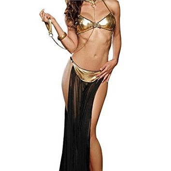 OLUOLIN Women's Sexy Lingerie Arabia Belly Dancer Costume Harem Slave Set