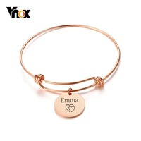 Vnox Coin Charm Expendable Bangle Bracelet Free Custom Engraving Name Love Date Stainless Steel Best Friendship Gifts
