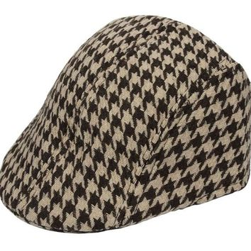 kids children houndstooth design Newsboy Beret hat Cabbie beret Gatsby visor Cap