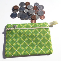 Makeup Organizer ,Green Modern Floral Motif purse organizer, Beauty supply organizer,Cosmetic or Makeup storage pouch, Coin Purse