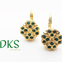 Shamrock Earrings, Swarovski, Drops, Lever Backs, St Patricks Day, Clover, Gold, Emerald, 12mm, DKSJewelrydesigns, FREE SHIPPING