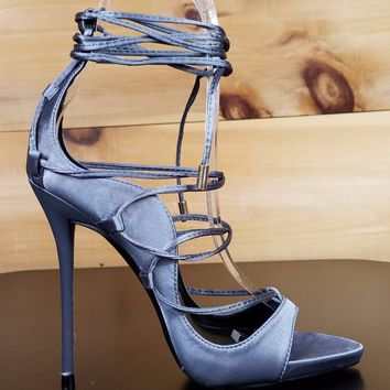 So Me Mista Satin Strappy Lace Up High Stiletto Heel Shoe 6.5-11 Gray