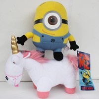 2X Despicable Me Plush Toy Minion Stewart and Unicorn Soft Doll Stuffed Animal
