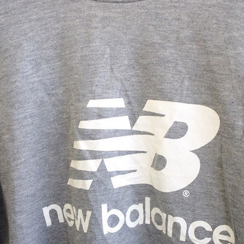 BIG SALE 25% Vintage 90's New Balance NB Streetwear Pullover Crewneck Sweatshirt Gray Sweater Size M