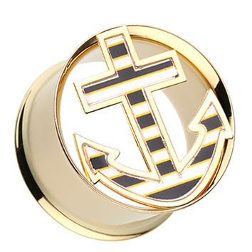Golden Colored Nautical Stripe Anchor Double Flared Ear Gauge Plug