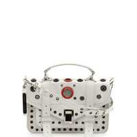 Proenza Schouler PS1 Tiny Grommeted Leather Satchel Bag, Optic White