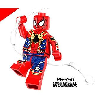 Single Sale PG350 Super Heroes Iron Spider-Man Spiderman Deadpool Dolls Bricks Building Blocks Children Toys Christmas Gift