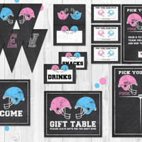 Football Gender Reveal Party, gender reveal games, gender reveal decorations, signs, pink vs blue, gender reveal decorations, chalkboard
