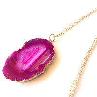 Agate slice necklace - long necklace, gold necklace, hot pink gemstone pendant - statement necklace