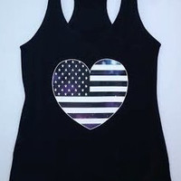 Racerback Terry Tank - Heart Shaped US Flag Galaxy Print