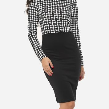Streetstyle  Casual Houndstooth Courtly Doll Collar Bodycon-dress