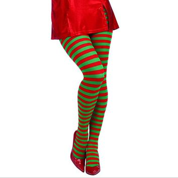 Elf Tights Striped Christmas Red and Green Stockings