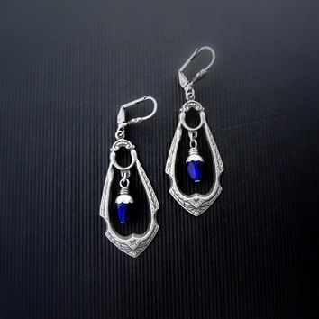 Gothic Earrings - Medieval - Royal Cobalt Blue