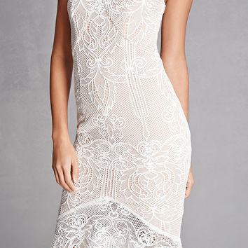 Lace Overlay Ruffle Hem Dress