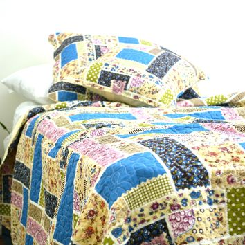 DaDa Bedding Multi Colorful Floral Blue Patchwork Quilted Coverlet Bedspread Set (DXJ103269-1)