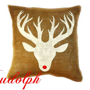 Rudolph the Red Nosed Reindeer Burlap Pillow Cover, Christmas, Deer, Christmas Gift, Reindeer, Holiday decor, Christmas Pillow, Gift for Her