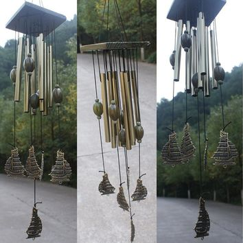 2016 New Antique Amazing 12 Tube Fengshui Sailboat Windchime Bell Outdoor Living Wind Chimes Gift