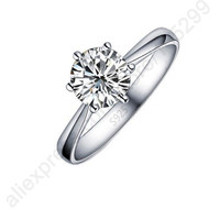 Beautiful Sterling Silver Crystal Cubic Zirconia Women Finger Ring Jewelry