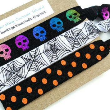 Halloween hair ties, foldover elastic ponytail holders, white orange and black hairties, spider web, skulls knotted foe, Halloween accessory