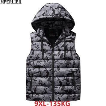 MFERLIER Men women hooded Vests large size big 7XL 8XL 9XL hipster Winter autumn warm Vest Cotton Casual Waistcoat sportwear red