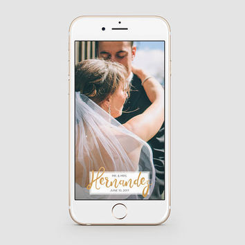 Wedding Snapchat Geofilter | Simple Gold Script Snapchat Geofilter | Custom Snapchat Filter