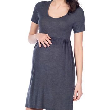 37.5 Beloved Anthracite Ruched Maternity Empire-Waist Dress | zulily
