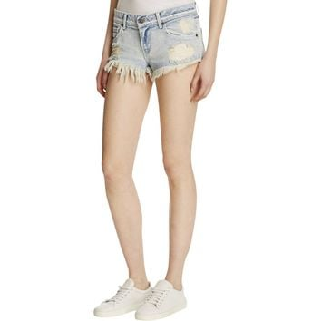Pistola Womens Destroyed Low-Rise Denim Shorts